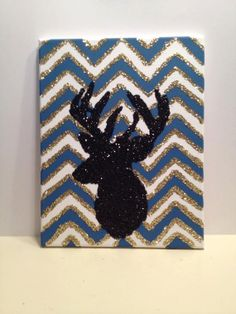 CUSTOMIZED Canvas painting chevron and deer by SealitwithKisses, $20.00