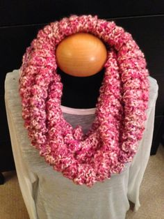 Handmade knit infinity winter scarf - Cherry Blossom. By: Scarves by Chelsey #knit #infinity #scarf #handmade #scarves #winter #warm #fashion www.facebook.com/scarvesbychelsey Check us out on Etsy!