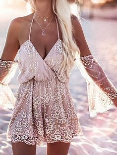 Shop Beige Off Shoulder Tie Front Wrap Foil Lace Romper Playsuit from choies.com .Free shipping Worldwide.$22.49