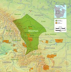 Carte de répartition_Indiens Blackfoot. (Wikipédia)