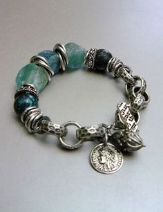 Natural Apatite Nuggets, Turquoise, Charms, and Mixed Silver Metals bracelet