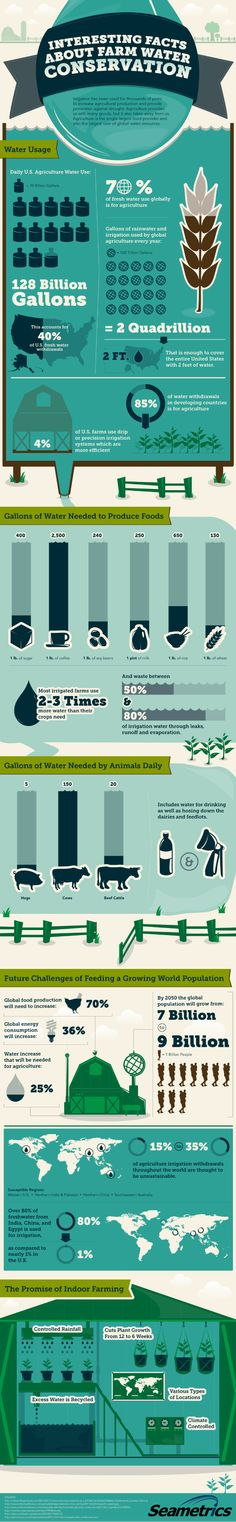 Interesting Facts About Farm Water Conservation - an infographic from Seametrics, a manufacturer of water flow meters that measure and conserve water.