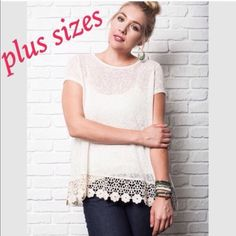 Plus size tops Flowy plus size tops with lace trimmed hem. Price is firm. Tops