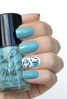 Blue with heart nail art
