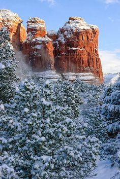 Coffee Pot Rock, Sedona, Arizona, USA  Look Ty! Snow and desert together. This is a win win. Lets move. I bet it is never -24 for days on end in Arizona.