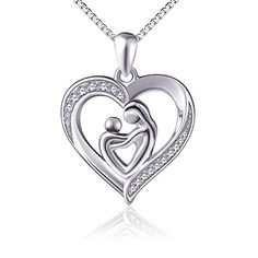 (Mother Holding Child) Sterling Silver Mothers Love Heart CZ Pendant Women Necklace 18