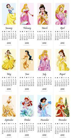 free printable 2012 princess calendar for kids room