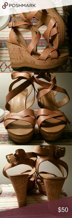 Franco Sarto  Gorgeous wedges No size 100% size 9. I am a 8 and the size 8 did not fit needed whole size up. Worn 1x I think if that. Mostly inside Franco Sarto Shoes Wedges