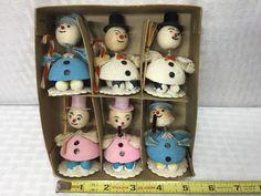 (6) NOS 1960s SNOWMEN Vintage MIB Putz Mica Spun Cotton Chenille JAPAN Christmas