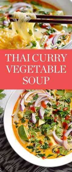 Get this Thai Curry Vegetable soup recipe from Budget Bytes, and more easy Thai recipes here. Easy Thai Recipes, Fall Recipes, Asian Recipes, Dinner Recipes, Dinner Ideas, Vegetable Soup Recipes, Vegetarian Recipes, Healthy Recipes, Healthy Soups