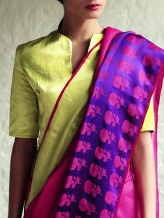 Love the block print motif and the color combination. Phulbarhi Fushia-Purple Cotton-Silk Saree By Raw Mango Indian Blouse, Indian Sarees, Silk Sarees, Sari Blouse Designs, Blouse Patterns, Indian Attire, Indian Wear, Indian Dresses, Indian Outfits