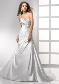 A-line, One Shoulder, Sweetheart, Satin