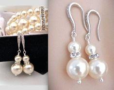 Pearl earrings - Crystal Rhinestones - Sterling silver ear wires - Bridal jewelry - Bridesmaids -GORGEOUS - Chunky pearl drop earrings -