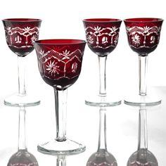 4 Vintage Weingläser rot Römer Kristall Rubinglas rote Gläser Weißweingläser K5
