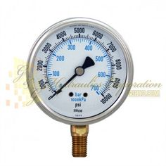 "Part #RV132A3N334KG Series 7211, 1/4"""" NPT Bottom Connection, 2 1/2"""" Gauge Size, 0-10000 PSI, Liquid Filled Gauge."