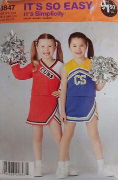 Simplicity Sewing Pattern 0847 Girls' Cheer Leader Costume Uniform Sizes 2-12 #Simplicity