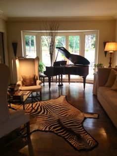 Piano room- minus the zebra on the floor...