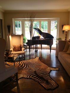 Piano room- minus the zebra on the floor...