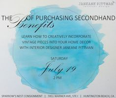 The Benefits of Purchasing Secondhand Event at Sparrow's Nest Consignment