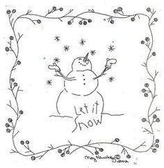 Embroidery.com: Let It Snow Embroidery Pattern: Primitive Embroidery / RedWork