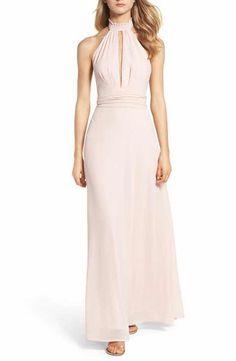 b863fda2da00 Lulus Ruffle Neck Halter Gown Pink Evening Gowns, Pink Gowns, Chiffon  Evening Dresses,