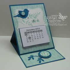 Stampin' Up! Easel Calender Card by Debbie Henderson. Debbie's Designs.