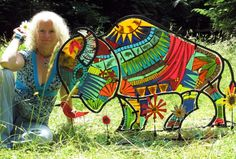 Fused glass and steel buffalo sculpture. Me and my baby.