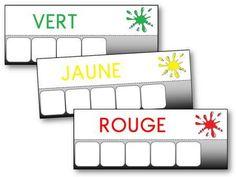 Atelier des mots pour apprendre à écrire le nom des couleurs