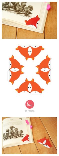 DIY marque page fox printable Origami Paper, Diy Paper, Paper Art, Paper Crafts, Easy Origami, Diy Bookmarks, Corner Bookmarks, Free Printable Bookmarks, Bookmark Template