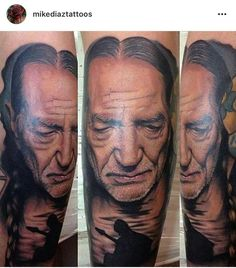 Willie Nelson by Mike Diaz of Sunken City Ink in Lubbock, TX Dope Tattoos, Awesome Tattoos, Sunken City, Lubbock Tx, Ink Master, Japanese Sleeve Tattoos, Willie Nelson, Tattoo Sketches, Traditional Tattoo
