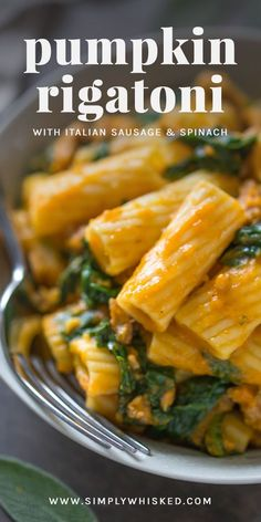 Pumpkin Rigatoni with Italian Sausage & Spinach Looking for an easy fall dinner idea? Look no further than this dairy free, pumpkin rigatoni with Italian sausage & spinach. - Pumpkin Rigatoni with Italian Sausage & Spinach Pasta Dinner Recipes, Fall Dinner Recipes, Fall Recipes, Yummy Recipes, Cooking Recipes, Healthy Recipes, Recipe Pasta, Beef Recipes, Cooking Gadgets