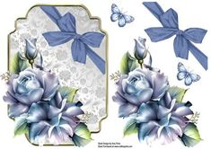 Beautiful Pale Blue Rose Topper on Craftsuprint designed by Amy Perry - Beautiful Pale Blue Rose Topper in lovely silver ornate frame with decoupage and added elements for your own decoration - Now available for download!