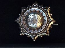 ANTIQUE VICTORIAN STERLING SILVER BEADED BROOCH WITH FERN