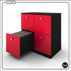 """LP record cabinet by Vinyl Bop, each drawer holds about 90 records. / Mueble para discos de 12"""". Capacidad de 90 discos por cajón.  Dimensiones: - Alto: 86 cm. - Ancho: 82.5 cm. - Profundidad: 52 cm.  Precio: 490 euros. Contacto: vinylbop@gmail.com"""