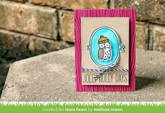Lawn Fawn - Critters in the Arctic + coordinating dies, Sweater Weather + coordinating die, Deck the Halls, Stitched Rectangle Stackables, Cranberry Notecard, Blue Jay Lawn Trimmings _ card by Melissa