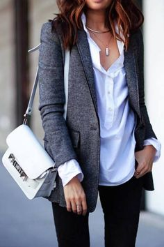 Cute casual chic blazer outfits for work spring & summer 2017 3