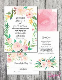 Wedding invitation watercolor wreath floral by RachelsWorkroom