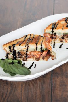 The key to this sandwich, and to keeping the fresh taste that a caprese salad is known for, is in how you cook it Balsamic Reduction, Cracked Pepper, Fresh Basil Leaves, Italian Bread, Piece Of Bread, Balsamic Glaze, Non Stick Pan, White Bread, Caprese Salad