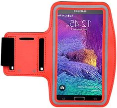 """myLife Volcano Red and Ash Gray {Rain Resistant Velcro Secure Running Armband} Dual-Fit Jogging Arm Strap Holder for Samsung Galaxy Note 4 """"All Ports Accessible"""" myLife Brand Products http://www.amazon.com/dp/B00S77JSGA/ref=cm_sw_r_pi_dp_SBaYub025TK5Y"""