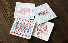A Stunning Collection of 50 Designer Christmas Cards For Your Inspiration – Design School Design Poster, Graphic Design Print, Coaster Design, Coaster Set, Holiday Cards, Christmas Cards, Christmas Ideas, Bar Coasters, Letterpress Printing