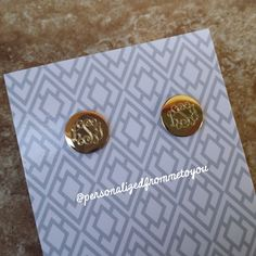 Small Round Monogrammed Goldtone Earrings