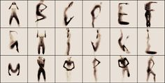 The photographic series by greek-based  student Anastasia Mastrakouli  titled NAKED SILHOUETTE ALPHABET is a latin alphabet art, formed by the naked body and performance of experimental textures that depict the silhouette.