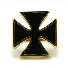 Gold Iron Cross Biker Ring with small cross on the side in 316L steel approx 24x24mm, 1x1in