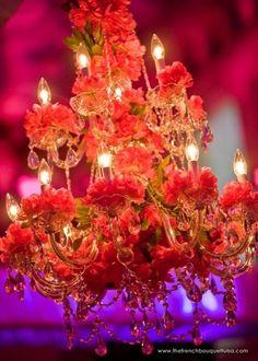 red floral chandelier