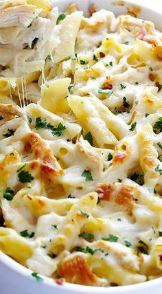 chicken alfredo baked ziti made on 4-12-18