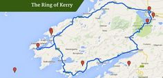 15 Stunning Reasons to road trip the Ring of Kerry : Ring of kerry map England Ireland, England And Scotland, Dublin Ireland, European Road Trip, Road Trip Europe, Ireland Vacation, Ireland Travel, Ireland Attractions, Southern Ireland