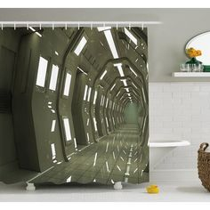 Ambesonne Outer Space House Sci-Fi Environment Bright Perspective Robotic Underground Display  Shower Curtain Set Size: