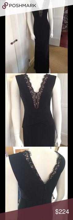 BCBG Alyza gown Stunning deep V neck black gown with romantic lace trim around the neck, peplum at the flattering waist, black band at waist, hidden back zipper, fully lined . Soft satin like fabric, polyester. Quite sophisticated. BCBGMaxAzria Dresses