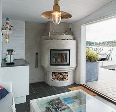 Modern Lake House Architecture Design with Wonderful Cottage Wood Fireplace, Fireplace Design, Scandinavian Fireplace, Scandinavian Interiors, Modern Lake House, Beautiful Villas, Villa Design, Cottage Homes, Architecture Design