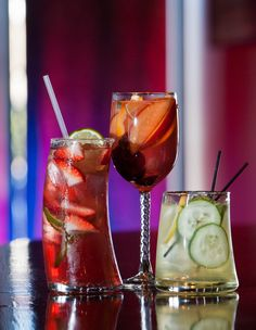 Chef's Palette's Raspberry Margarita: Lunazul Tequila, Chambord, sour mix, splash of cranberry; White Sangria: Wine marinated with oranges, lemons, lime, cherries and peaches; ginger ale; and Cucumber Lemonade: Hendrick's Gin, St-Germain Elderflower Liqueur, simple syrup, lemon